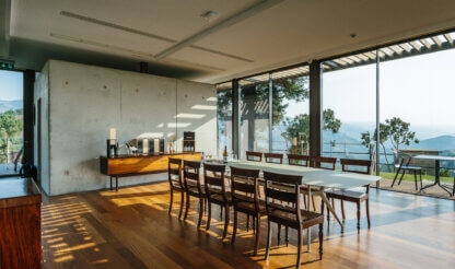 Panoramic tasting room with douro valley view